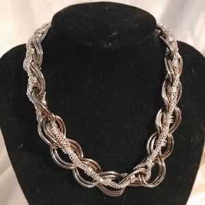 Grayish and silver necklace 14 length